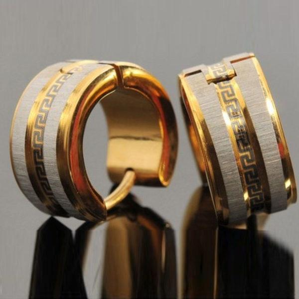 Teodóra nemesacél fülbevaló fekete görög mintával arany – ezüst fazonban