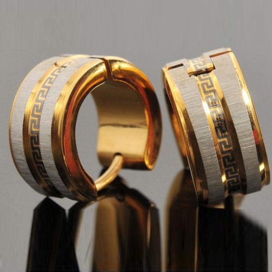 Teodóra nemesacél fülbevaló fekete görög mintával arany - ezüst fazonban