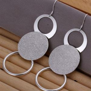 Szorina károm karika fülbevaló ezüst fazonban