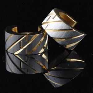 Tessza nemesacél fülbevaló arany-ezüst fazonban