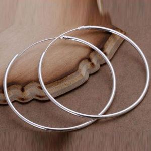 Roberta vékony karika fülbevaló ezüst fazonban