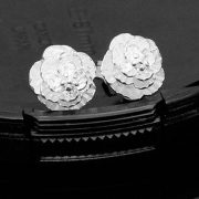 Ramóna rózsa fülbevaló ezüst fazonban