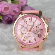 Rózsaszín bőrszíjas karóra