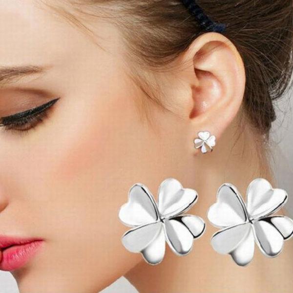 Tanita négylevelű fülbevaló ezüst fazonban