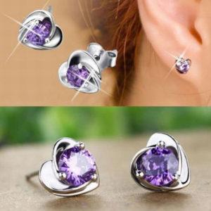Stefi szív alakú fülbevaló lila kővel
