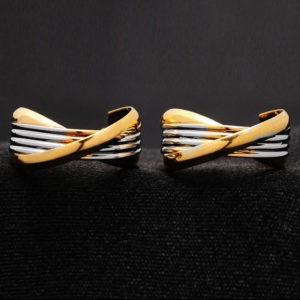 Violetta ovális alakú fülbevaló fehérarany - arany fazonban